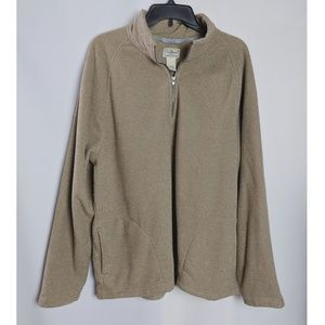 LL Bean Brown Pullover Quarter Zip Front Pockets